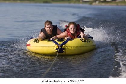 Tubing fun on the lake
