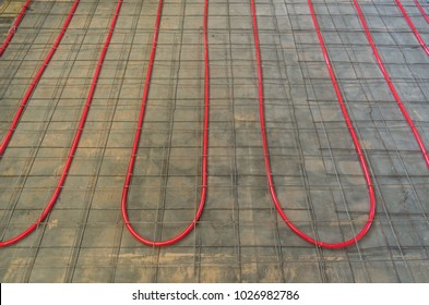 tubing on a floor for hydronic heating with reinforcing mesh ready for concrete