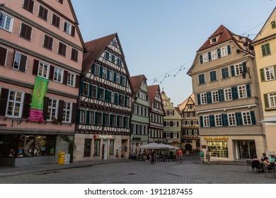 TUBINGEN, GERMANY - AUGUST 30, 2019: Marktplatz square in Tubingen, Germany