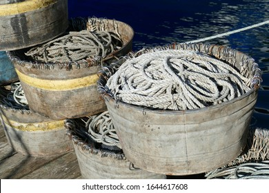 Tubs of hooks and lines for longline fishing boat, in the Yaquina marina,  Newport, Oregon