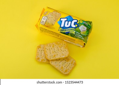 Tuc snack pack on bright yellow flat background
