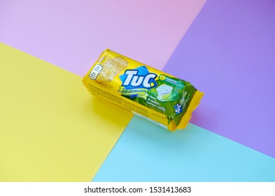 Tuc snack pack on bright multi colored flat background