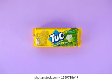 Tuc snack pack on bright violet flat background