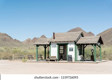 Tucosn, AZ, USA - June 03 2018.06: Old Tucson train station. The Old Tucson is a movie studio and theme park just west of Tucson.