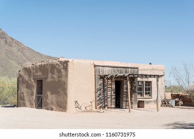 Tucosn, AZ, USA - June 03 2018: Old wild west building in the Old Tucson. It is a movie studio and theme park just west of Tucson. It is one of Arizona's top Wild West attractions.