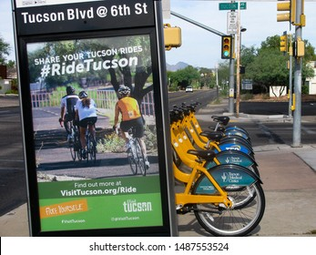 Tucson, Arizona, USA–July 28, 2019: The tugo bike share system offers a flexible, cost-effective and green way to traverse the city for commuting, running errands or sightseeing.