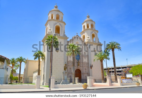 TUCSON ARIZONA APRIL 24: The Cathedral of Saint Augustine or Saint Augustine Cathedral is the mother church of the Roman Catholic Diocese of Tucson. It is located in Tucson, Arizona. On april 24 2014