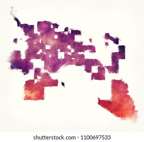 Tucson Arizona city watercolor map in front of a white background