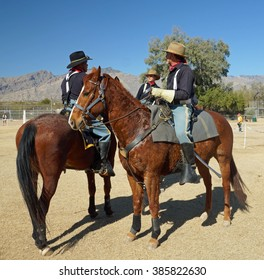Tucson, Arizona - FEBRUARY 13, 2016 -B Troop, 4th US Cavalry, rides drills at a demonstration at Fort Lowell.  The Cavalry was instrumental in settling the old west.