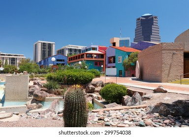 Tucson, Arizona - July 1, 2015:Tucson Skyline Showing the Colorful Building at La Placita Park, Cactus and UniSource Energy Tower.