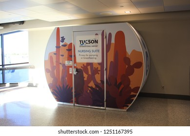 TUCSON, ARIZONA - NOVEMBER 2018: Nursing Suite at Tucson International Airport in November 2018 in Tucson. The pod provides privacy for breastfeeding in public spaces.