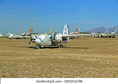 Tucson, Arizona, USA - April 22, 2014: Ghost Rider bomber plane in the Pima Air and Space Museum boneyard.
