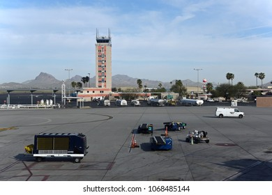 Tucson, Arizona, USA, April 5, 2018: Airport with old tower