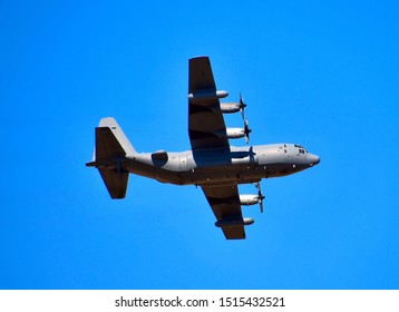 Tucson, Arizona / USA: Circa September 2019 C-130 Hercules making practice touch and go landings and maneuvers.