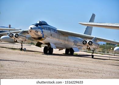 Tucson, Arizona / USA: Circa September 2019 Pima Air & Space Museum Boeing B-47 Stratojet The B-47 is a retired American long-range, six-engined, turbojet-powered strategic bomber.