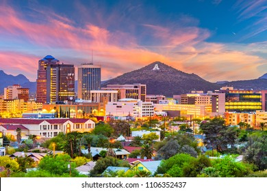 "Tucson, Arizona, USA downtown skyline with Sentinel Peak at dusk. (Mountaintop ""A""  for ""Arizona"")"