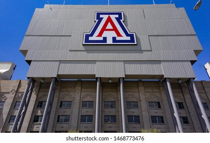 Tucson, Arizona USA - July 23, 2019: The University of Arizona logo on the scoreboard of Arizona Stadium, viewed from 6th Street