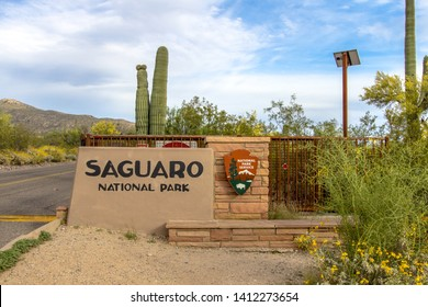 Tucson, Arizona, USA - May 2, 2019: Entrance sign to the Saguaro National Park in Tucson. The Sonoran Desert in Arizona is the only place in the world where the Saguaro cactus can grow in the wild.