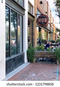 Tucson, Arizona / USA - October 19 2018:The Hub Restaurant and Ice Creamery, exterior, vertical format
