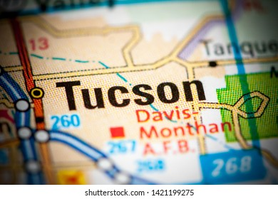 Tucson. Arizona. USA on a map