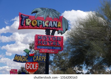 Tucson, Arizona/USA - February 17, 2019: Vintage neon signs by day