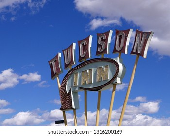 Tucson, Arizona/USA - February 17, 2019: Vintage neon sign for the Tucson Inn by day