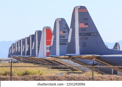 "Tucson, Arizona/USA - November, 2018: Decommissioned Air Force planes in a storage facility in Tuscon, Arizona known as ""The Boneyard""."