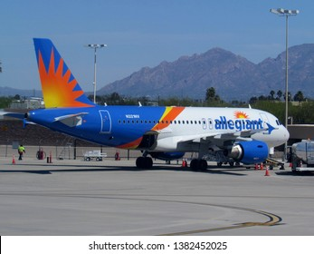 Tucson, Ariz./USA-April 14, 2019: An Allegiant Airlines Airbus 319 pulls up to its gate at Tucson International Airport.