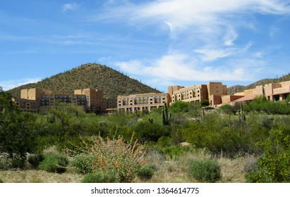 Tucson, Ariz./USA-April 9, 2019: The JW Marriott golf resort in the foothills of the Tucson Mountains, west of the city.