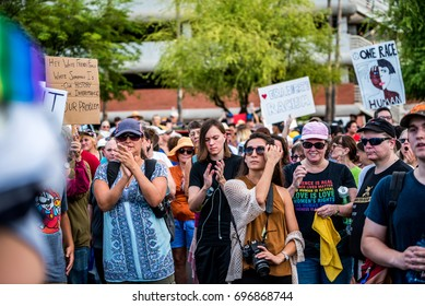 TUCSON - AUGUST 13: Citizens march to protest racism on 13 August, 2017 in Tucson