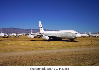 TUCSON, AZ -23 FEB 2018- View of planes lined up at the Davis–Monthan Air Force Base (DM AFB) Aerospace Maintenance and Regeneration Group (AMARG), a military boneyard located in the Arizona desert.