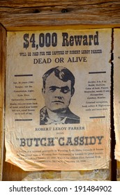 TUCSON AZ APRIL 24: Wanted Robert Leroy Parker known as Butch Cassidy, was an American train, bank robber, and leader of the Wild Bunch Gang in the American Old West. On april 24 2014 in Tucson AZ