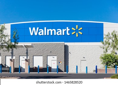 Tucson, AZ July 21, 2019: Walmart Store Building Sign