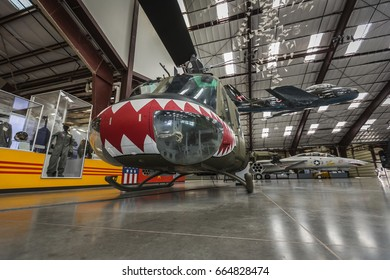TUCSON, AZ - SEP 22, 2016: Military aircraft and memorbila on display at the Pima Air & Space museum, one of the world's largest aerospace museums on Sept. 22, 2016