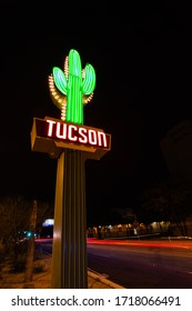 Tucson, AZ / USA - 01/23/16: Neon Art Deco sign from the 1920's welcomes travelers in the 21st century,