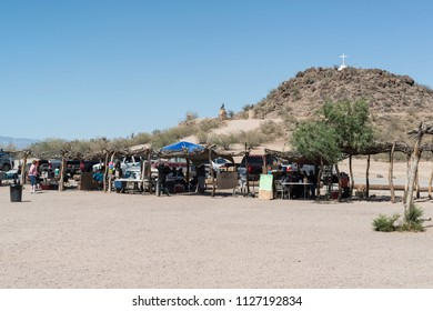 Tucson, AZ, USA - 03 June 2018: Indian sale spot at Mission San Xavier del Bac. It is a historic Spanish Catholic mission located about 10 miles south of downtown Tucson, AZ, on the Tohono O'odham.