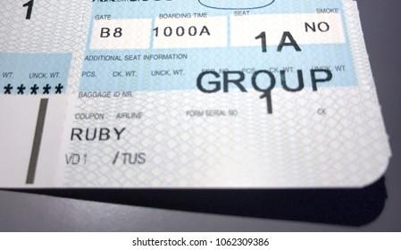 Tucson, AZ, USA, April 5, 2018: boarding pass for seat 1A
