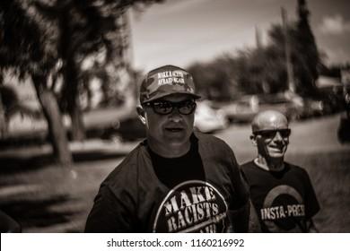 "Tucson, AZ / U.S.A. - Aug 18, 2018: Pro-Trump MAGA Rally, Counter-Protest, ""Make Racist Afraid Again"""