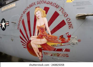 Tucson, AZ, USA - December 12, 2014 : Nose Cone Art on Military Aircraft
