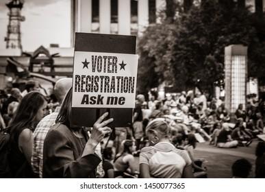 """Tucson, AZ / U.S.A. - Jul 12 2019: """"Register to Vote"""""""