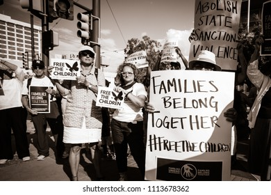 "Tucson, AZ / U.S.A. - Jun 14, 2018/ Free the Children Protest, ""Families Belong Together"""