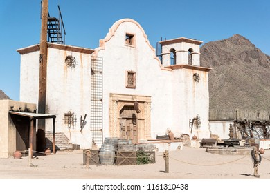 Tucson, AZ, USA - June 03 2018.06: The famous church in many westerns in Old Tucson movie studio.