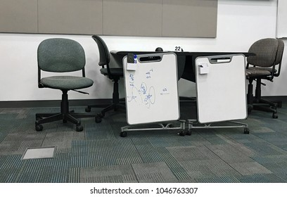 Tucson, AZ, USA, March 11, 2018: Classroom setting with two facing desks