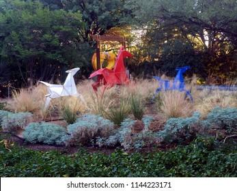 "Tucson, AZ/USA - Dec 14 2017: Tucson Botanical Garden ""Origami in the Garden"" Sculpture Exhibit Featuring Origami Running Horses"