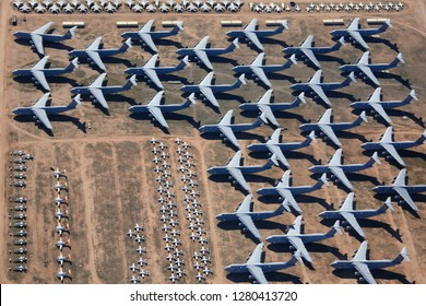 Tucson City, Arizona USA - Dec 27, 2018: Retired aircrafts parking in the aircraft boneyard in Davis-Monthan Air Force Base in Tucson City, Arizona, on Dec 27, 2018.