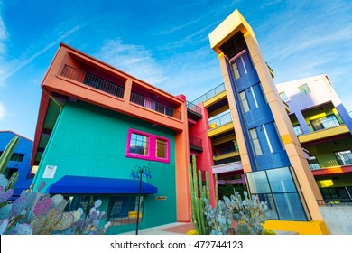 TUCSON - DECEMBER 01: Colorful buildings of La Placita Village Shopping Center in downtown Tucson, AZ, USA