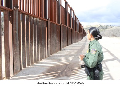 Tucson Sector, Ariz. / US - March 4, 2015: A Customs and Border Protection agent along the U.S.-Mexico border. 4384