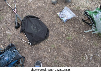 Tucson Sector, Ariz. / US - May 24, 2014: Samaritans volunteers leave supply bags for people in southern Arizona's rough terrain with food, water, basic first aid and La Virgen de Guadalupe. 2633