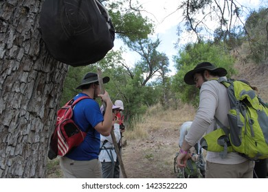 Tucson Sector, Ariz. / US - May 24, 2014: For people caught in southern Arizona's rough terrain, Samaritans volunteers leave supply bags with food, water, basic first aid and La Virgen de Guadalupe.