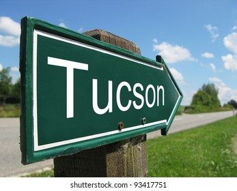 Tucson signpost along a rural road